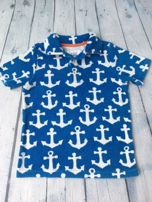 Mini Boden blue and white anchor towelling top age 5-6